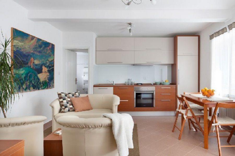 Cucina, sala da pranzo e soggiorno